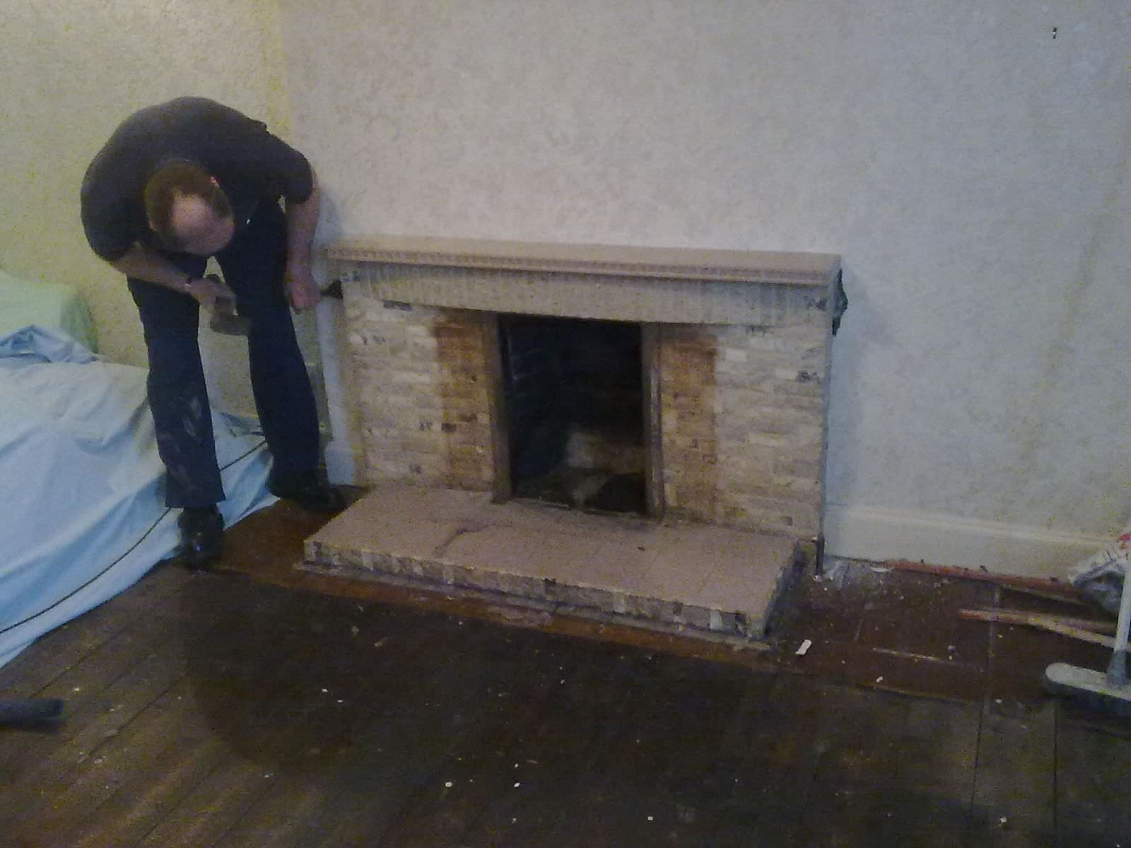 limestone fireplace installation